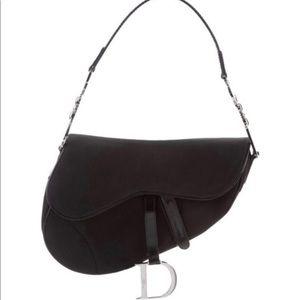 Christian Dior Black Saddle Bag Silver HW Vintage
